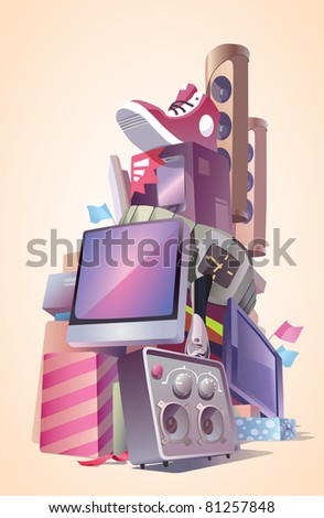 A large heap of the brand new purchasings. There are shoes, electronics, watches, phones and other goods. Editable vector EPS v9.0