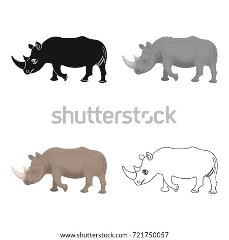 A large Indian rhinoceros. A wild animal, a rhinoceros single icon in cartoon style vector symbol stock illustration web.