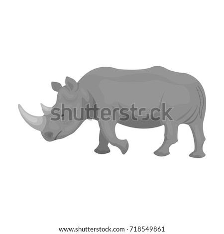 A large Indian rhinoceros. A wild animal, a rhinoceros single icon in monochrome style vector symbol stock illustration web.