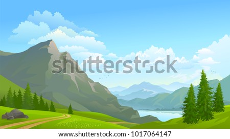 a large mountain beside a river