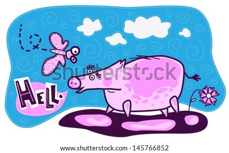 a large pink pig met a