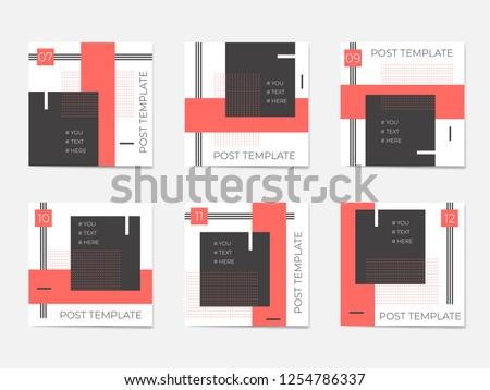 A large set for social media post templates. For personal and business accounts. White background with geometric elements in black and trendy coral colors.