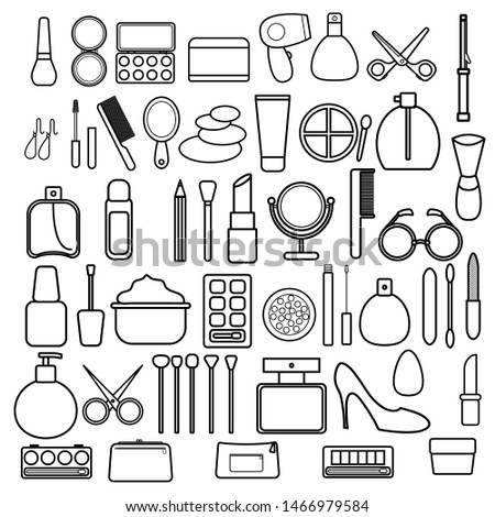 A large set of black and white icons of simple linear fashionable glamorous beautiful means for makeup, skin care, cosmetic beauty products, items, cosmetics, items. Vector illustration