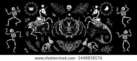 A large set of elements for Halloween. Party skeletons. Isolated on black background. Great for greeting cards, invitations, for printing on T-shirts and more.