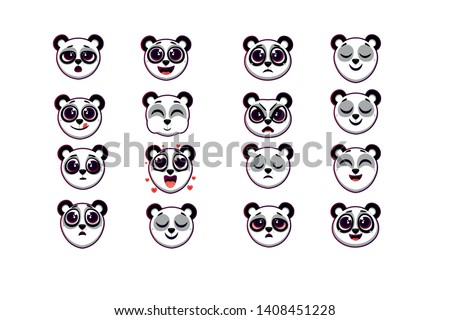 a large set of emotions, a set of panda emotions, different emotions of a panda. - vector