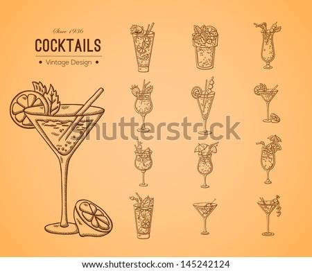 a large set of fresh cocktails