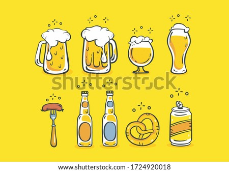 A large set of groceries, cans and mugs of beer, forks with delicious sausage