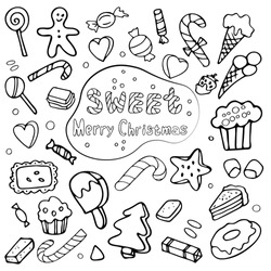 A large set of images doodles elements on the theme of sweet Christmas. Black-and-white hand-drawn polygons. Isolated on a transparent background.
