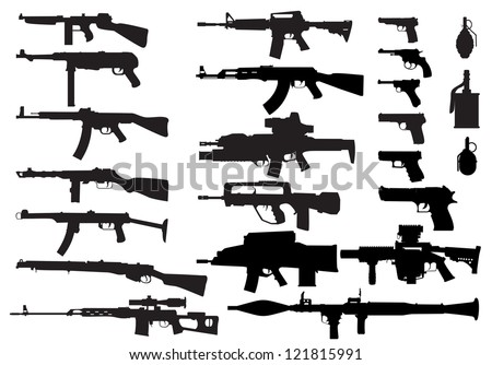 stock-vector-a-large-set-of-modern-small-arms-in-the-vector