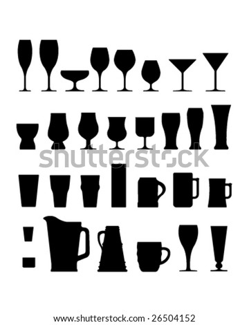 A large set of vector silhouettes of alcohol and coffee drink glasses, cups, and mugs.