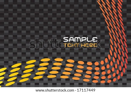 A layout with curved dots over a carbon fiber background texture.