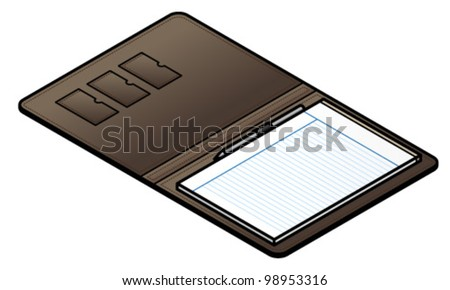 A leather folio with a pen and lined-paper notepad.