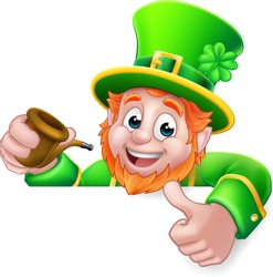 A Leprechaun St Patricks Day cartoon character holding a pipe peeking over a sign and giving a thumbs up