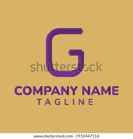 A letter G logo template with purple color and gold background adds to the luxurious feel. Stock fotó ©