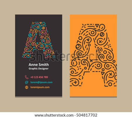 Graphic designer business card vector download free vector art a letter logo corporate business card reheart Image collections