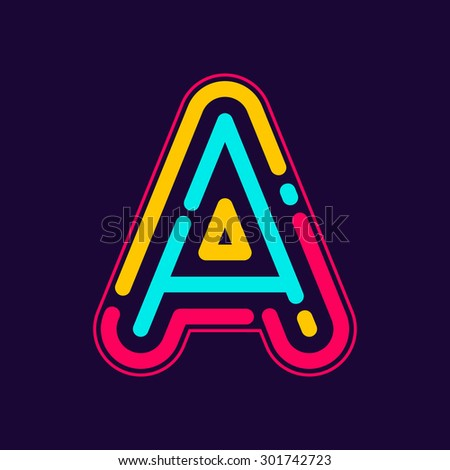 a letter logo with neon line or