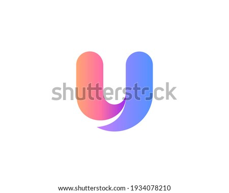 A letter U from abstract multicolors shapes. Application icon logotype design template. Vector icon logo design. Stok fotoğraf ©