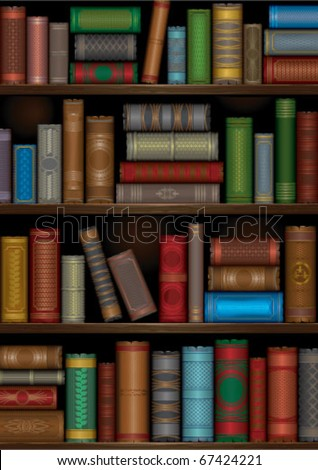 a library shelves with old books