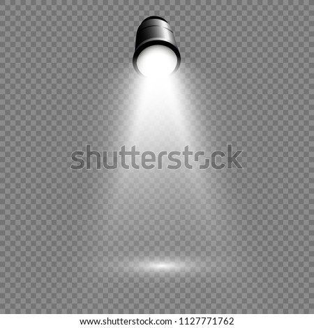 A light box with a white presentation platform on a transparent background with spotlights. Redectable vector illustration