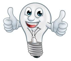 A light bulb cartoon character lightbulb mascot giving a thumbs up