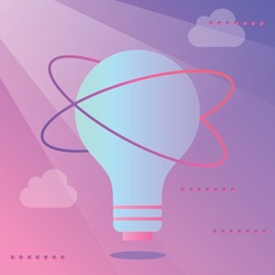 A light bulb on the background of clouds symbolizing the idea and thought, creativity in advertising. Work, office, implementation and plan. For banners, social networks and the web.