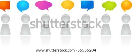 A line of abstract figures with speech bubbles
