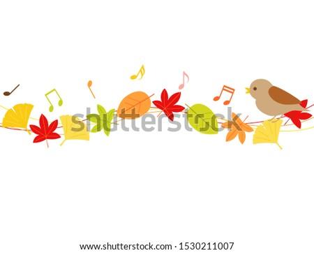 a line of fallen leaves