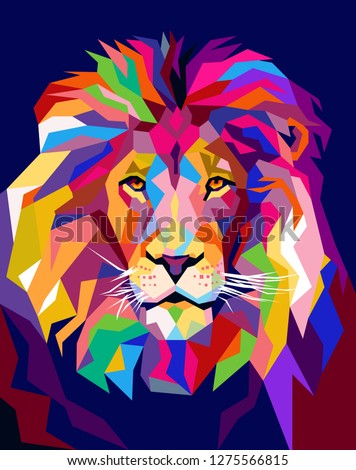 a Lion illustration, creative with an elegant, cool and awesome design with bright colors, with a colorful background