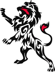 A lion rampant standing from a coat of arms or heraldic crest
