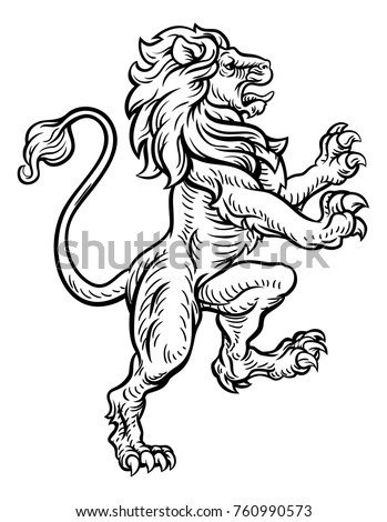 stock-vector-a-lion-rampant-standing-on-its-back-legs-from-a-coat-of-arms-or-medieval-heraldic-crest