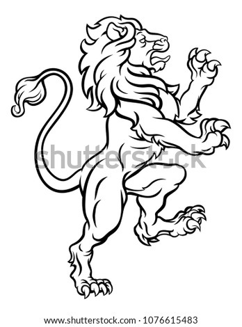 A lion standing rampant from a heraldic crest or coat of arms Stockfoto ©