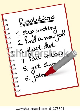 a list of resolutions for starting new life