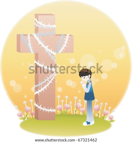 A Little Boy and the Cross