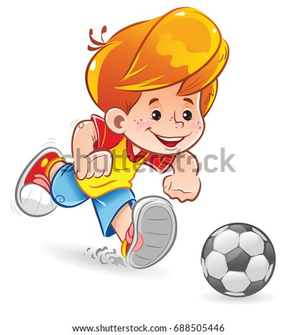a little boy plays soccer
