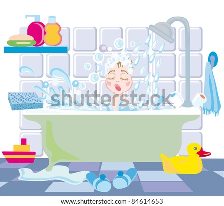 A little boy takes a bath with toys