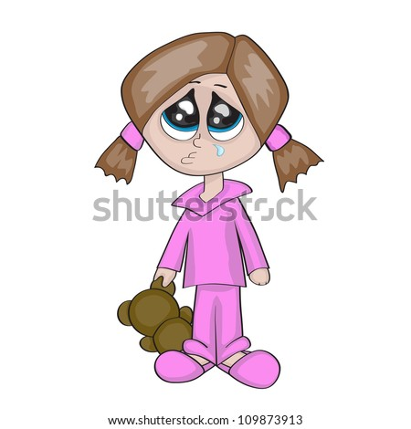A little cartoon girl is crying and holding teddy bear's ear, isolated on white background
