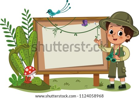 A little explorer standing in front of an empty display board. Vector illustration.