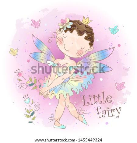 A little fairy-tale fairy. Forest girl elf. Vector illustration.