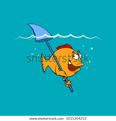 a little funny fish floats and