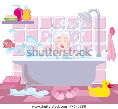 A little girl bathes under a shower
