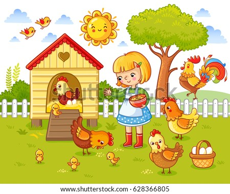 A little girl feeds chickens and hens around the chicken coop. Farm Vector illustration in children`s style.