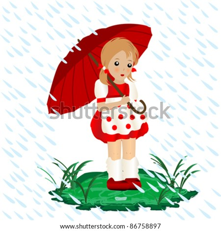 a little girl in the rain with an umbrella illustration