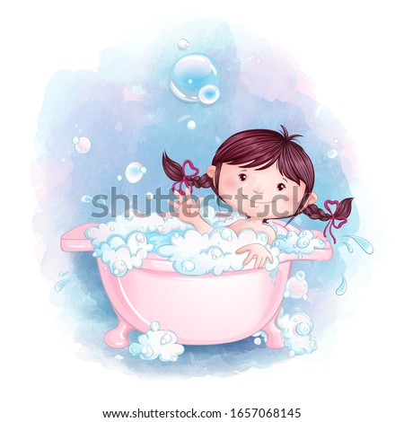 A little girl is having fun bathing in a pink bath with soap foam and bubbles. Vector cartoon character and watercolor texture background.