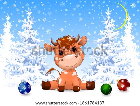 A little goby baby sits in the snow against the background of a winter snow-covered forest. Winter forest. Christmas night. Snow, snowflakes, trees covered with snow. Christmas decorations in the snow