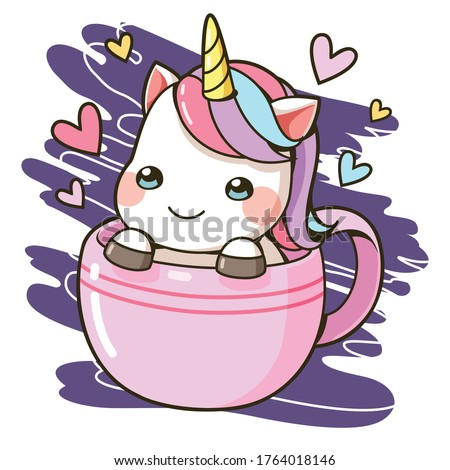 A little unicorn in a cup of coffee with colorful heart cartoon, Vector illustration. This design for publication, decoration, sticker, pattern, screen pattern on shirt and more.