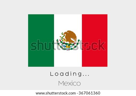 A Loading Flag Illustration of the country of Mexico