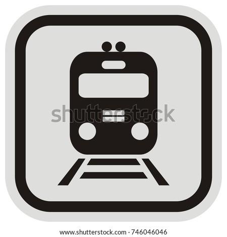 A locomotive or train in a button style, vector icon. vlak, ikona, zna?ka Zdjęcia stock ©