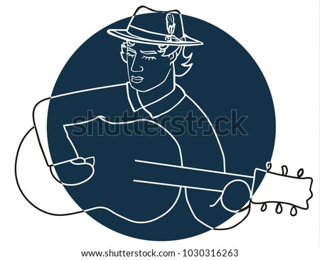 a logo with a guy playing his