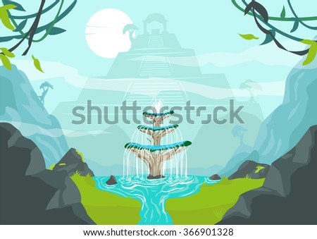 a lost city with fountain of