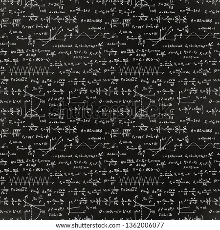 A lot of basic math equations and formulas, white chalk lettering on school blackboard seamless pattern